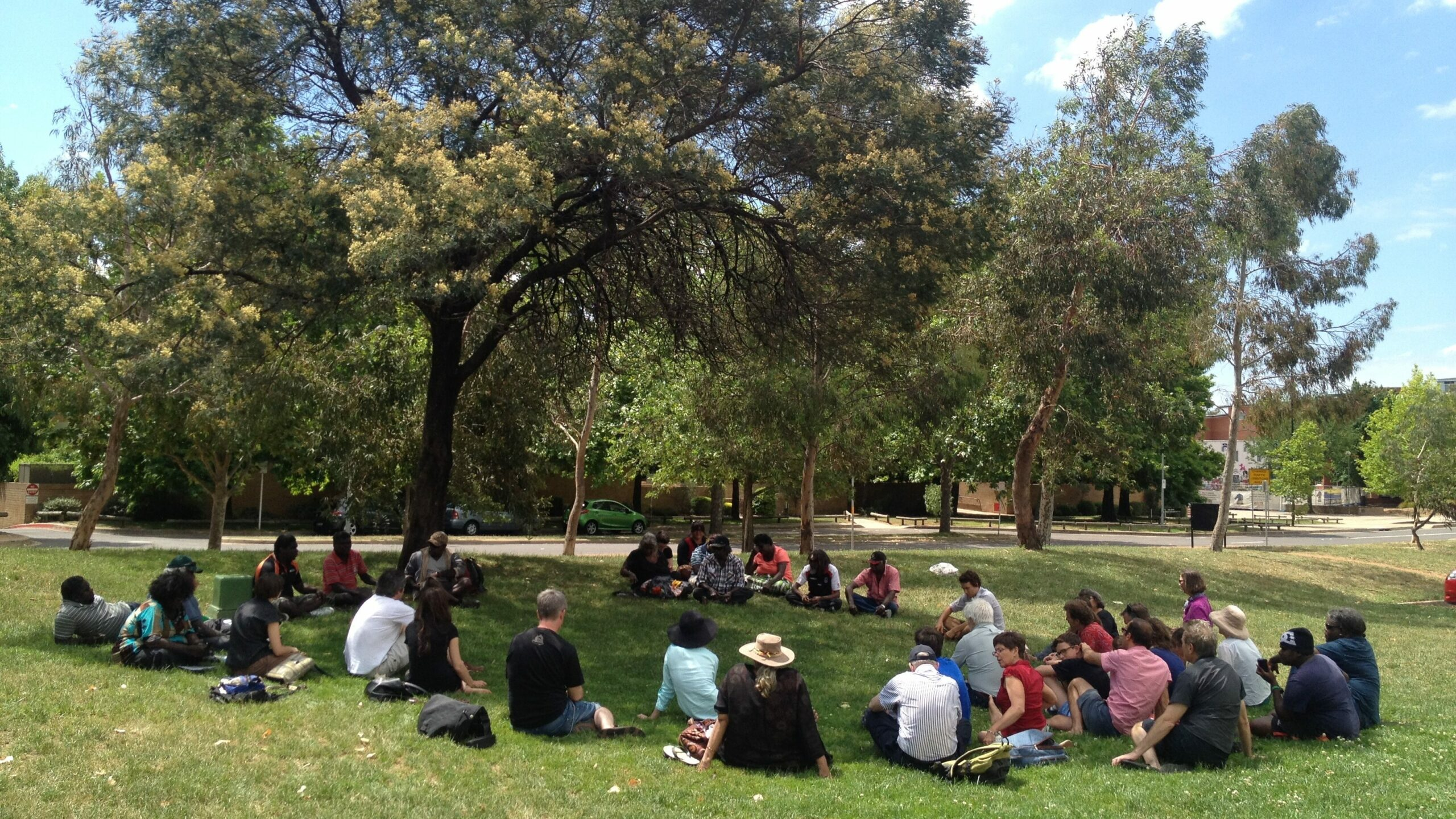 Indigenous Thinktank meeting taking place outdoors in Canberra