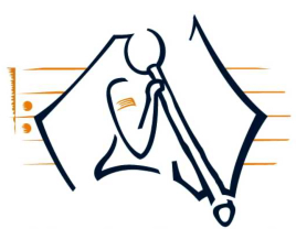 MSA Logo - figure playing didgeridoo over shape of Australia with musical stave.